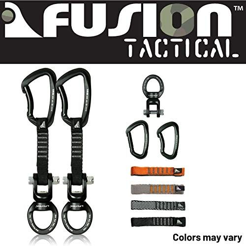 Fusion Climb 2-Pack 12cm Tactical Military Rescue Quickdraw Set with Vapor III Bent Gate Black/Ring Shackle Rotation Swivel Device Carabiners Strongly Made in The USA ()