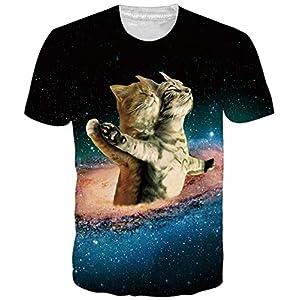 Goodstoworld Unisexe Tee Shirt Imprimé 3D Manches Courtes T-Shirts – pour Homme et Femme