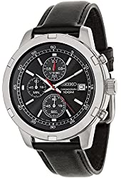 Seiko SKS429 Chronograph Black Dial Black Leather Band Mens Watch
