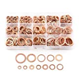 copper crush washer 18mm - Soosee 280 PCS Copper Flat Washer Metric Sealing Washers Assortment Set 12 Sizes
