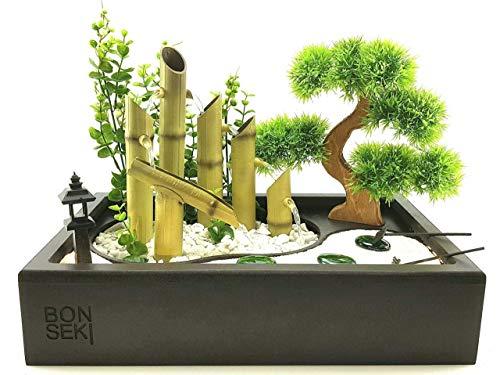 Fontane Zen Vendita.Bonseki Fontana Zen Da Interno 40 X 25cm Nero Con Giardino