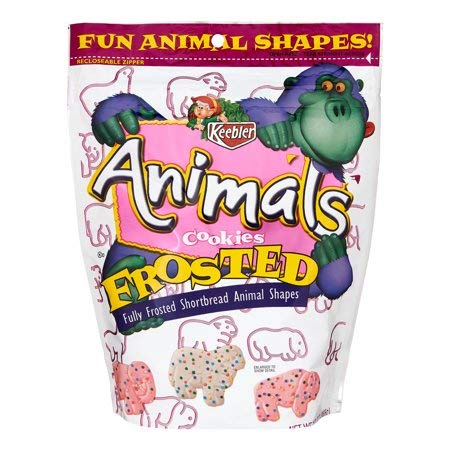 Frosted Animal Shortbread Shape Cookies, 13 oz,Recloseable Zipper,With Fun Animal Shapes Kids Will Surely Love and Enjoy,Great Tasting,Pack of 5