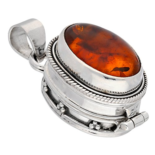 - Oval Amber Gemstone Sterling Silver Poison Locket Pill Box Pendant