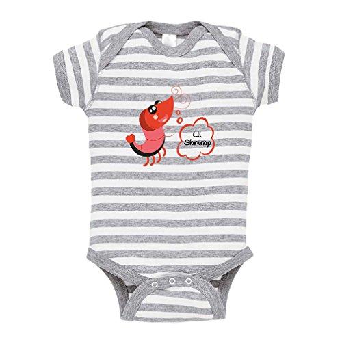 (Funny Shrimp Saying Lil Shrimp Baby Combed Ring-Spun Cotton Stripe Fine Bodysuit One Piece - White Gray, 6 Months)