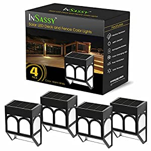 Solar LED Lights Outdoor - Wireless Waterproof Security Lighting for Deck, Fence, Patio, Front Door, Wall, Stair, Landscape, Yard and Driveway Path - Warm/Color Changing - 4 Pack
