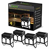 InSassy Solar LED Lights Outdoor – Wireless Waterproof Security Lighting for Deck, Fence, Patio, Front Door, Wall, Stair, Landscape, Yard and Driveway Path – Warm/Color Changing – 4 Pack For Sale