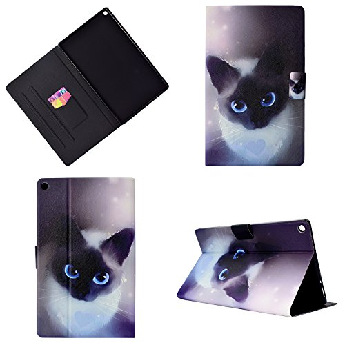 Uliking Stand Case All-New Amazon Fire HD 10 Tablet (7th Generation,2017 Release & 5th Gen 2015), PU Leather Folio Smart Cover Auto Wake/Sleep Kindle Fire HD 10.1 inch, Blue Cute Cat by Uliking