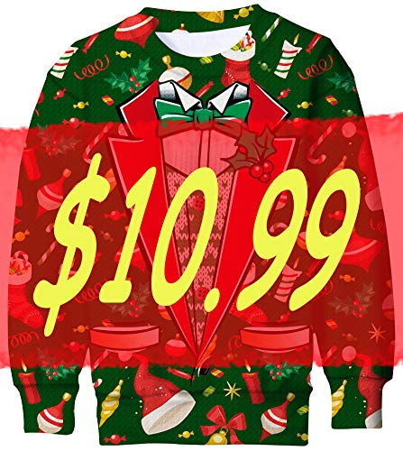 UNICOMIDEA 4-5T Unisex Kid Ugly Christmas Sweater with Christmas Stockings and Bells 3D Print Customes Pullover Cool Party Green Hoody Size S