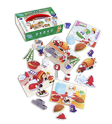 People at Work games for toddlers 3 years old. Picnmix board games for kids 3 and up. Educational puzzles and stickers for baby - Eco-Friendly Plastic Learning Board Games for Travel with Kids