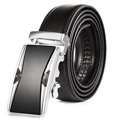 Vbiger Mens Leather Belt Sliding Buckle 35mm Ratchet Belt Black (42 to 52 long, Black Buckle 1) ()