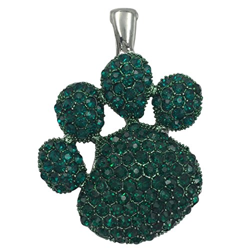 Gypsy Jewels Large Paw Print School Spirit Mascot Silver Tone Rhinestone Pendant for Necklace- Assorted Colors (Green)