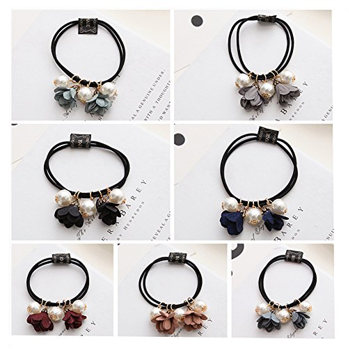 Casualfashion 6 Pcs Korean Fashion Women Girls Hair Accessories Flower Hair Rope Pearl Charms Rubber Band Headwear