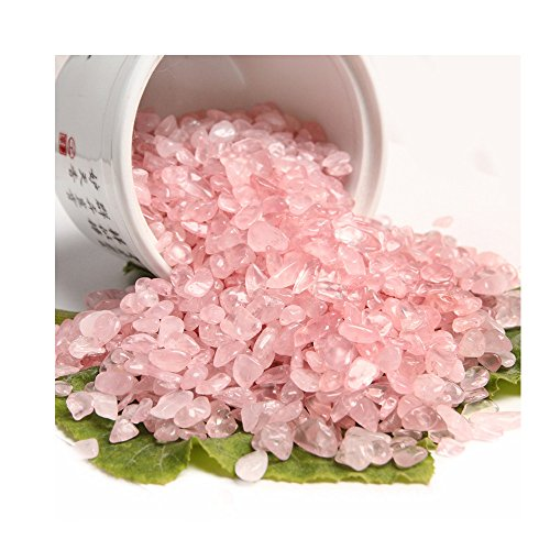 yanhongy Pink Small Tumbled Chips Crushed Stone Healing Reiki Crystal Jewelry Making Home (0.39 in) (100g pink) Healing Pet Stone