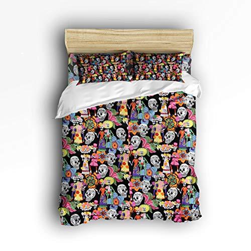 Halloween Bedding Set Gift Sugar Skull Bride and Bridegroom Decor Duvet Cover Set 4 Piece Comforter Set with 2 Pillow Shams Bedspread for Childrens/Kids/Teens/Adults King -