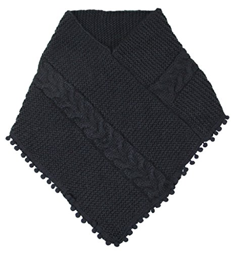 Women's Knitted Loop Tube Infinity Collar Scarf with Pom Poms (Black) by LOVE OF FASHION (Image #1)