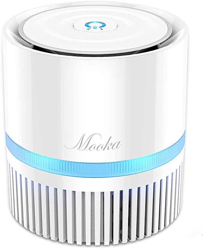 MOOKA Air Purifier for Home, 3-in-1 True HEPA Filter Air Cleaner for Bedroom