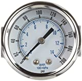 PIC Gauge 103D-254G 2.5'' Dial, 0/200 psi Range, 1/4'' Male NPT Connection Size, U-Clamp Panel Mount Dry Pressure Gauge with a Chrome Plated Steel Case, Brass Internals, Chrome Bezel and Plastic Lens