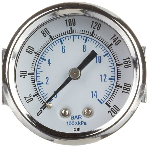 PIC Gauge 103D-254G Dry Filled Utility U-Clamp Panel Mount Pressure Gauge with Chrome Plated Steel Case, Chrome Bezel, Plastic Lens, 2-1/2