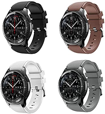 XIHAMA Band for Samsung Gear S3 Frontier/Classic, Universal 22mm Quick Release Wristband Silicone Replacement Strap (A set(4pcs))