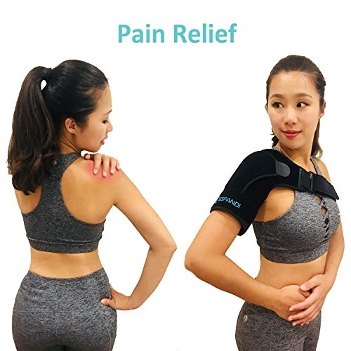 Shoulder Brace with Pressure Pad for women or men; Rotator Cuff Support for Injury Prevention; Dislocated AC Joint; Labrum Tear; Shoulder Pain; Sprain; Neoprene Compression Sleeve; Adjustable Strap by Espandi (Image #6)