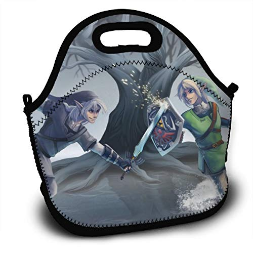Legend Of Zelda Ocarina Of Time-Lunch Tote Thick Reusable Insulated Thermal Lunch Bag Small Lunch Box Handbags Tote With Zipper For Adults Kids Nurse Teacher Work Outdoor Travel Picnic (Legend Of Zelda Ocarina Of Time Owl)