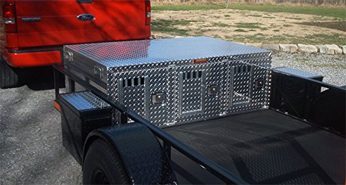 Owens Dog Box for Hunting and Travel - 55075 Hunter Series Triple Compartment Diamond Plate Aluminum Dog Crate for Truck or SUV without Storage - Back Vents - No Wheel Well Notches (58W x 40D x - Specialty Wheel Well