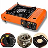 Portable Butane Stove Outdoor Picnic Camping Gas Burner Cooktop Range (Orange)
