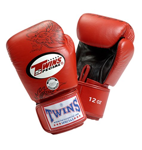 Twins Special Dragon Boxing Gloves- Premium Leather - Red Black - Black Twins Boxing Gloves