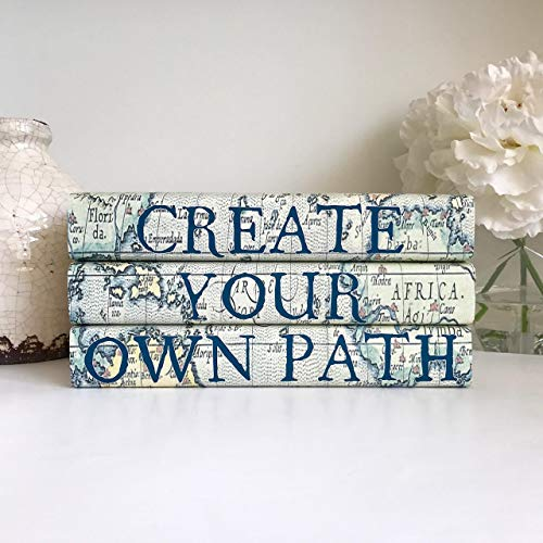 Create Your Own Path Decorative Quote Book Set, Inspirational Quote, Sense of Adventure, Quote Books, Vintage Map Books, Book Lover Gift, Graduation Gift, Housewarming Gift