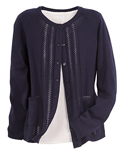(National Classic Cardigan Sweater, Navy, Petite Large)