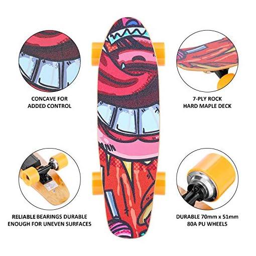 WOOKRAYS Skateboard électrique, 25″ Planche à roulettes électrique avec Télécommande, Moteur 350W, Vitesse Maximale de 20KM/H, Réglage à 3 Vitesses, 7 Couches en érable E-Cruiser Skateboard pour Enfants/Adolescents/Adultes