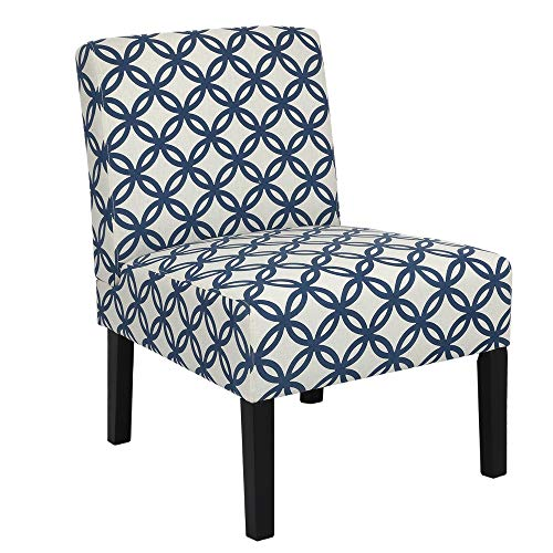 Homegear Home Furniture Accent Armless Chair – Contemporary Designs – Blue Intersecting Circles