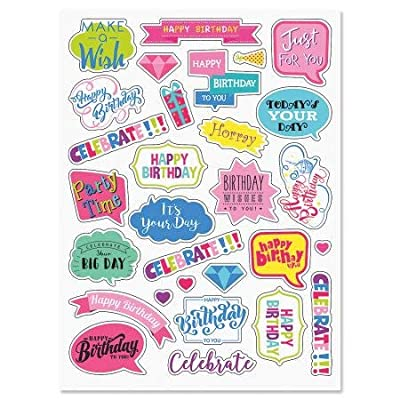 Birthday Caption Stickers - 2 Sheets, 58 Stickers Total, Envelope Seals, Kids Parties: Office Products