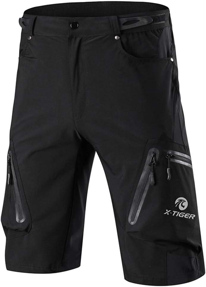 X-TIGER Pantalones Cortos de Monta/ña Ciclo Holgados de Hombres para MTB de los Deportes al Aire Libre Transpirables Sueltos