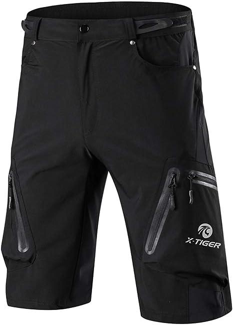 Mens Cycling Hiking Shorts Mountain Bike MTB Bicycle Shorts Pockets Padded Pants