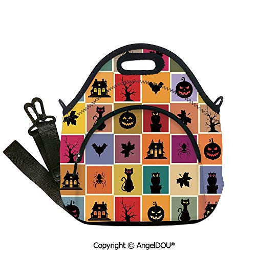 AngelDOU Vintage Halloween waterproof neoprene lunch bags Bats Cats Owls Haunted Houses in Squraes Halloween Themed Darwing Art Decorative for women Portable Insulated lunch box 12.6x12.6x6.3(inch) -