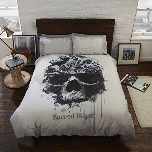 GOTHIC SKULL FLOWERS BIRD BEIGE BLACK COTTON BLEND USA QUEEN SIZE (COMFORTER COVER 230 X 220 - UK KING SIZE) (PLAIN SILVER GREY FITTED SHEET - 152 X 200CM + 25 - UK KING SIZE) PLAIN SILVER GREY HOUSEWIFE PILLOWCASES 6 PIECE BEDDING SET