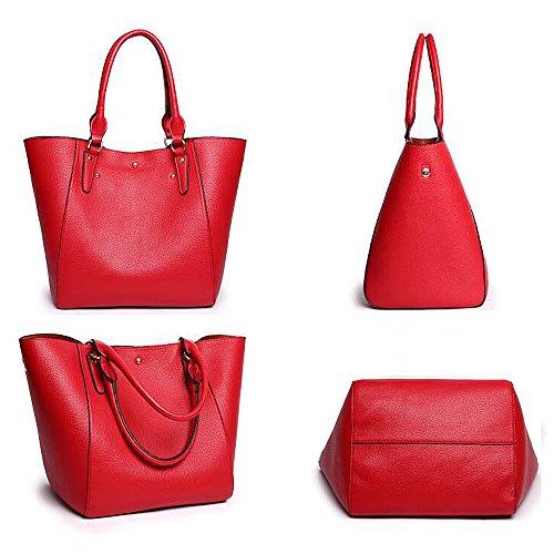 PU main B B fourre femmes à grandes manches à tout Tibes en cuir Rouge1 marron1 Sac larges Sac E6qOwB4U
