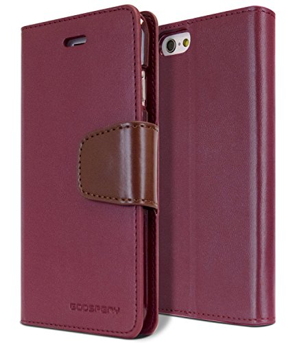 """iPhone 6S Plus / 6 Plus Case, [Drop Protection] Goospery Sonata Diary [Wallet Type] Synthetic Leather Case [Card Slots] w/Stand Cover for Apple iPhone 6S Plus / 6 Plus [5.5""""] (Wine) IP6P-SON-WNE"""