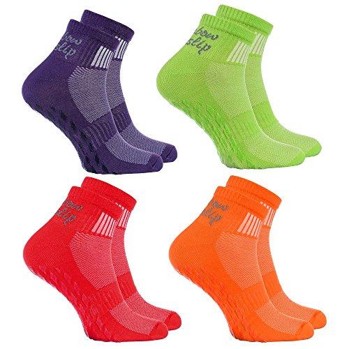 (4 pairs of Colorful Non-slip Socks ABS SPORT Yoga Dance Gymnastics Trampolines)
