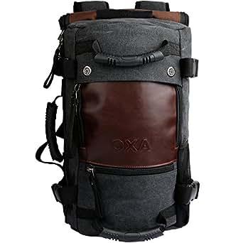 OXA Canvas Multi-Luggage Backpack/Tote/Duffle Bag/Travel Duffels,Black