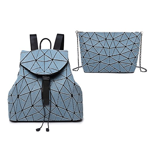 Flada damas mochilas geométrica Split conjunta bolsas de hombro a cuadros para mujeres diamante celosía cruz-cuerpo bolsas casual mochila #10 T-azul claro
