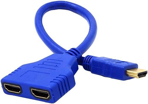 Cable HDMI de 1 a 2 Partida Adaptador Doble señal Convert Cable para Video TV HDTV para PS3, PS4, HDTV, Reproductor de DVD y Monitor LCD y proyector de vídeo: Amazon.es: Electrónica