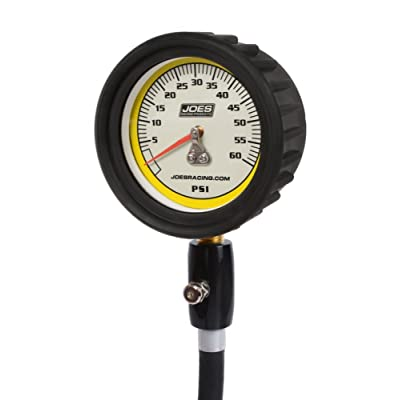Joes Racing Products Tire Pressure Gauge, Pro Tire, Glow in The Dark, 0-60 psi, Analog, 2-1/2 in Diameter, White Face, 1 lb. Increments, Pressure Hold Valve, Each: Automotive