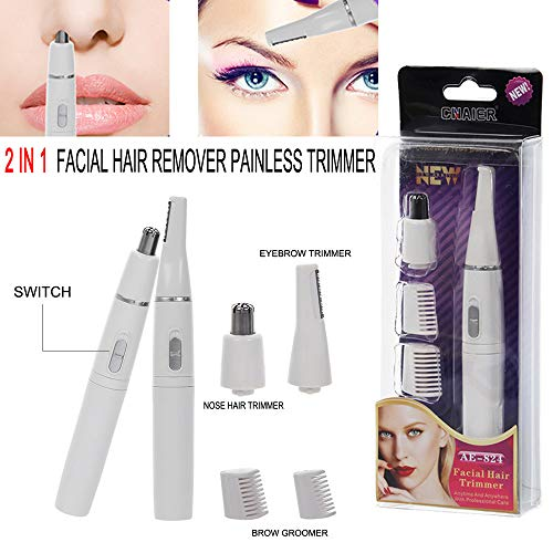 Euone  Facial Hair Remover Clearance , Nose Hair Clip Eyebrow Trim Hair Removal 2 in 1 Facial Hair Remover Painless Trimmer