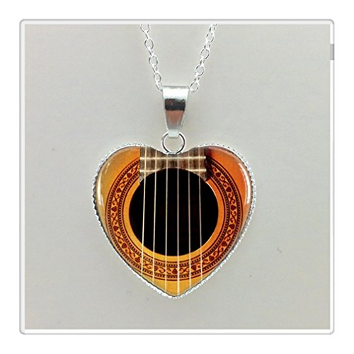 new girls glass roundel beads by the hole music guitar pendant silver necklace heart shaped necklace