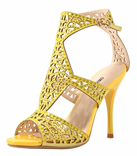 CAMSSOO Women's Ankle Strap Heels Sandals Peep Toe Stiletto Pumps Party Dress Shoes Yellow visa payment get authentic online looking for for sale limited edition cheap online outlet shop for BRttP10m3