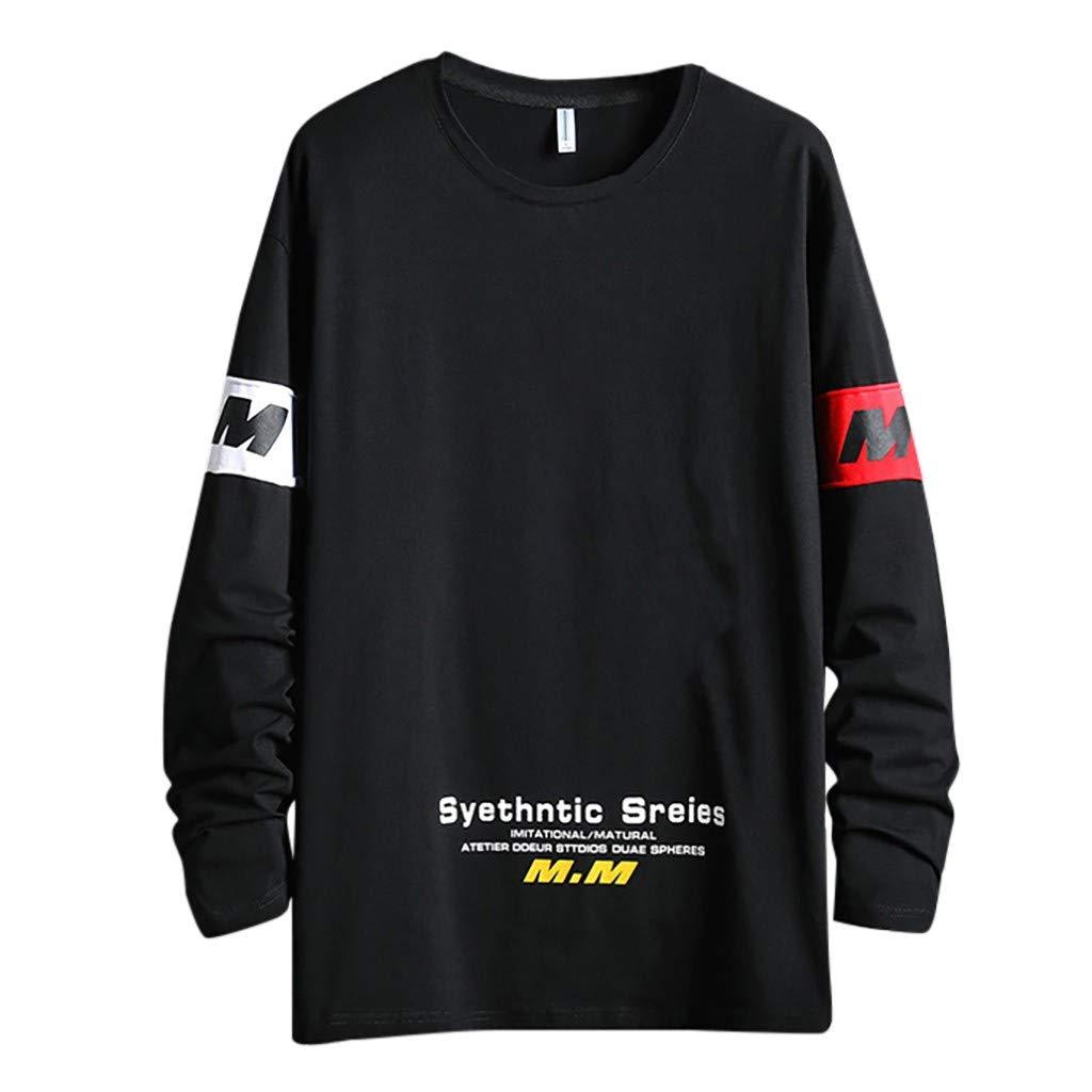 Men's Casual Fashion Printing O-Neck Long Sleeves T-Shirt Top Blouse Black by Badymin