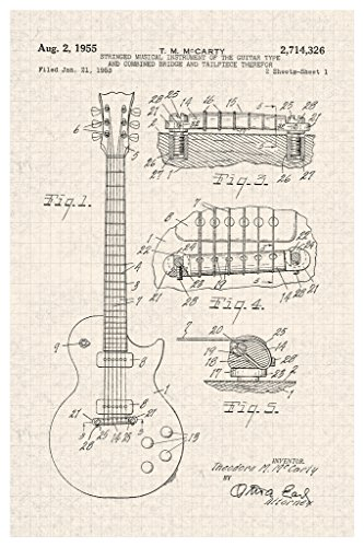 Electric Guitar 1955 Official Patent Diagram Poster 12x18 inch
