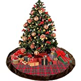 Weite Cloth Christmas Tree Plaid Skirt with Two Adjustable Ties - 44 Inches Large Round Indoor Outdoor Mat Ornaments Xmas Party Holiday Decorations (Red)